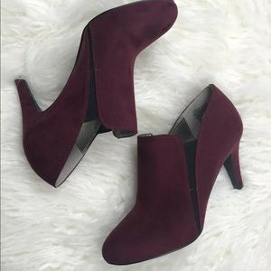Ana Burgundy Suede Ankle Booties